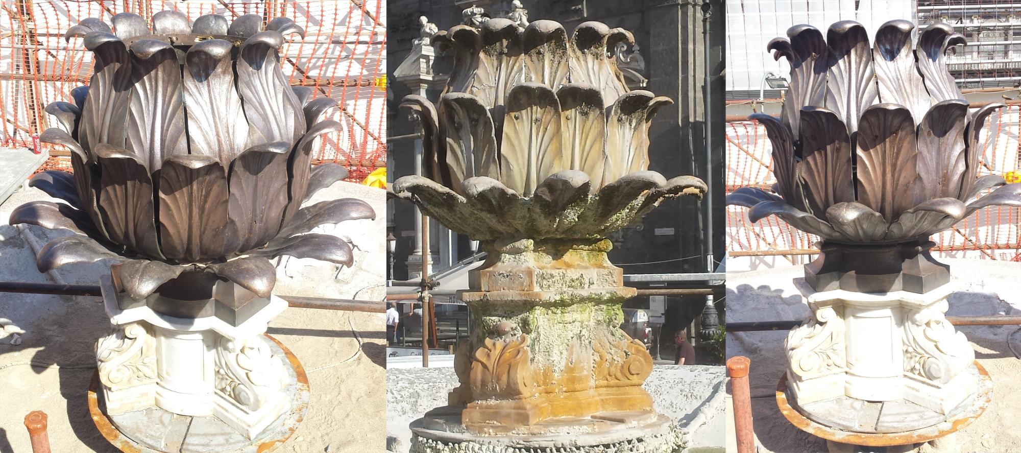 la fontana del carciofo prima e dopo il restauro  (dal sito monumentandonapoli http://monumentandonapoli.com/2015/03/23/prima-e-dopo/#jp-carousel-466)